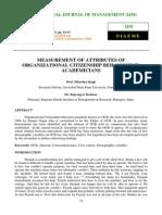 Measurement of Attributes of Organizational Citizenship Behavior in Academicians
