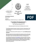 CM Helen Rosenthal Calls for Transparency on OATH Dismissals (April 14, 2015)