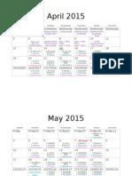 calendar and schedule breakdown
