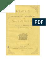 Sarmiento- Mensaje Del Presidente de La Republica Al Abrir Las Sesiones Del Congreso Argentino Mayo de 1874 0