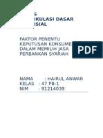 Faktor Penentu Konsumen Dalam Memilih Jasa Perbankan Syariah