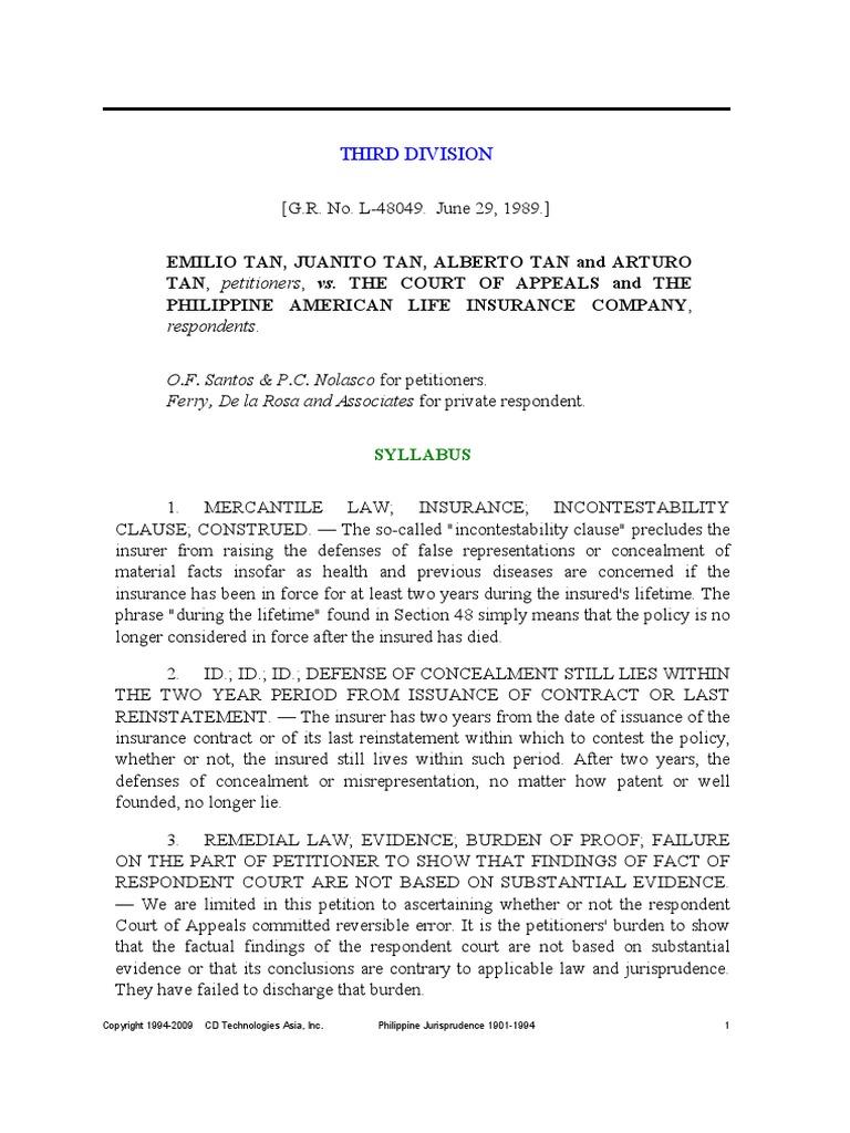 Tan v Court of Appeals (174 SCRA 403) | Rescission ...
