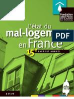 Rapport annuel 2010 de la fondation Abbé Pierre sur le mal-logement