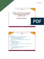Premiers Résultats de l'Enquête Nationale Sur La Mobilité Sociale Intergénérationnelle Au Maroc, 2011