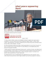 Risks of a Failed Peace Appearing Only Now – Ranil