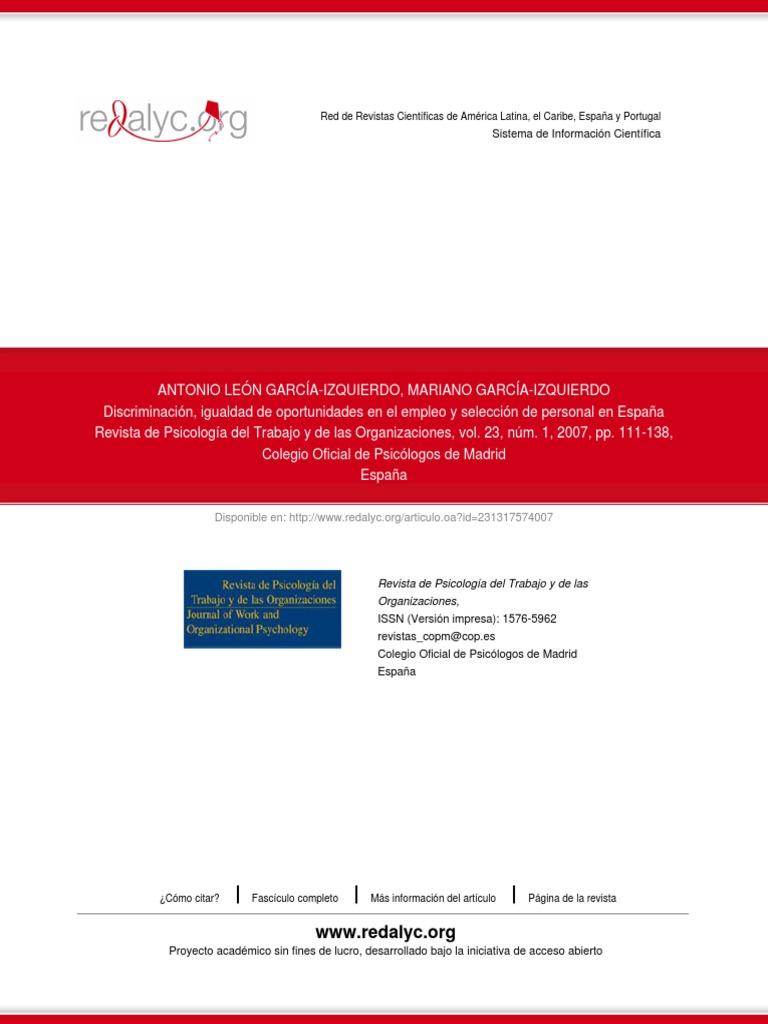 Discriminación, Igualdad de Oportunidades en El Empleo y Selección ...