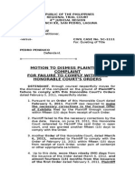 Motion to Dismiss Due to Fault of Plaintiff