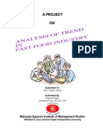 Analysis of Trend in Fast Food Industry