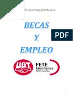 Boletín de Becas y Empleo. Semana Del 13 de Abril de 2015