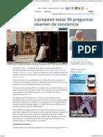 Papa Francisco Propone Estas 30 Preguntas Para Un Buen Examen de Conciencia