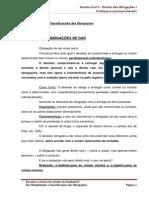 Resumão - Classificações e Modalidades de Obrigações