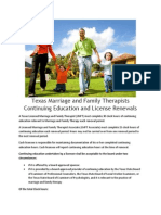 Texas Marriage and Family Therapists Continuing Education and License Renewals