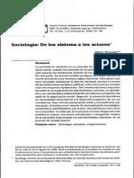 Sociologia de Los Sistemas a Los Actores