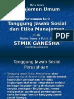 Tanggung Jawab Sosial Etika Manajemen