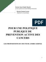 Pour une politique publique de prévention active ces cancers, Les propositions du Docteur André Gernez