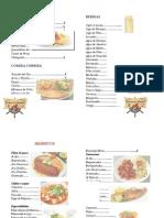 menu de comida