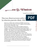 Donald Winnicott - Nuevas Observaciones Teoría Paternofilial