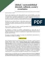 Sostenibilidad y Sustentabilidad Medioambiental