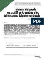 Pelaez, Analisis Preliminar Del Aporte de Las Ert en Argentina a Los Debates Acerca Del Proceso de Trabajo