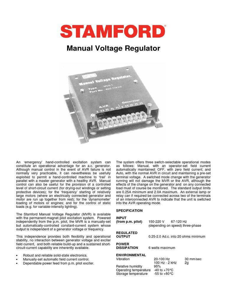 Manual Voltage Regulator Stamford Electric Generator Electrical Ac Wiring Diagram Engineering