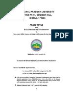 HPU B.ed. Admission 2015 Information Brochure