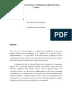 Estrategias Didácticas Para La Enseñanza de La Expresión Oral y Escrita