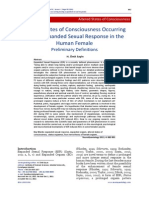 Altered States of Consciousness Occurring During Expanded Sexual Response in the Human Female- Preliminary Definitions
