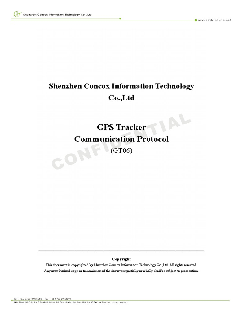 GT06 GPS Tracker Communication Protocol v1 8 1 | Network