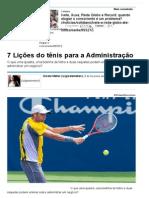 7 Lições Do Tênis Para a Administração - Artigos - Carreira - Administradores