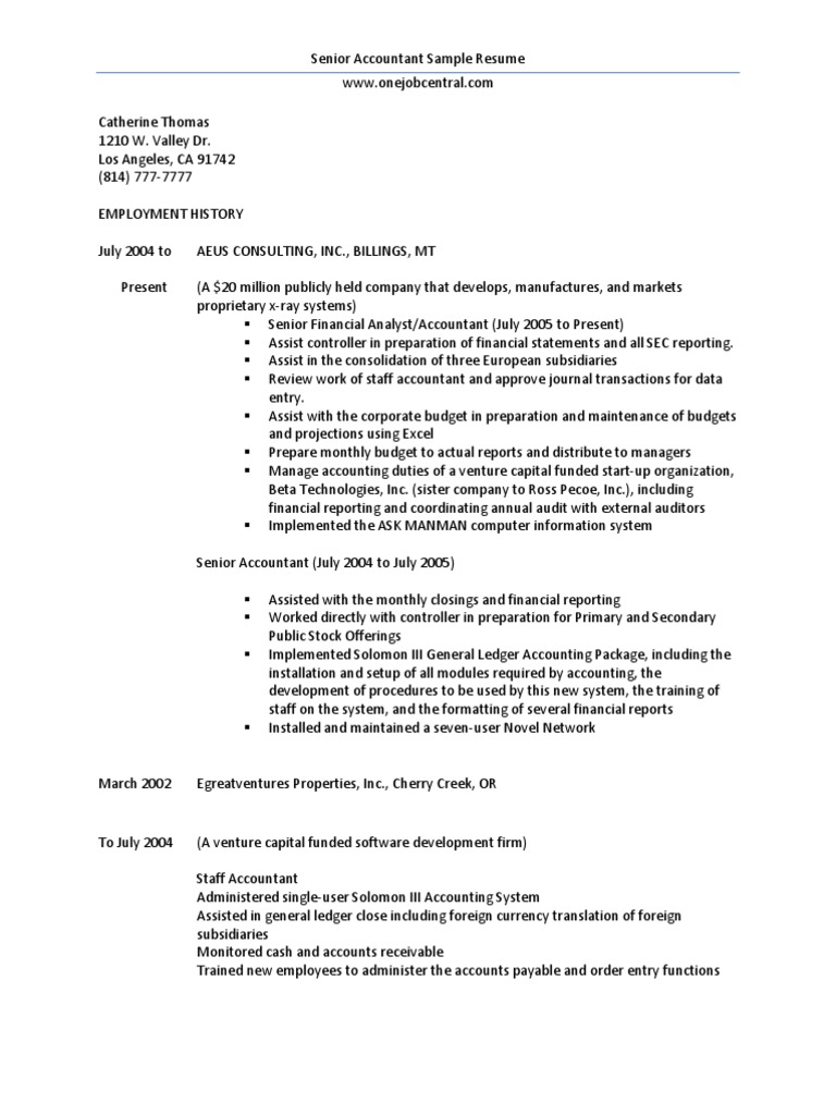 Cool Senior Property Accountant Resume Sample Gallery - Professional ...