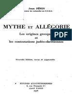 Jean Pépin. Mythe Et Allégorie
