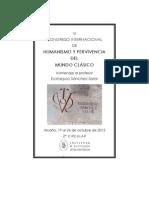 II Circular, con relacion de ponentes, del VI Congreso Internacional de Humanismo y pervicencia del mundo clásico. Homenaje al Prof. Eustaquio Sánchez Salor