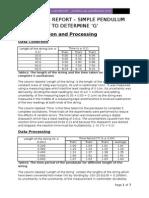 IB Physics Lab Report - Simple Pendulum