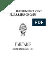 Time Table Semester II 2014-15(8 Jan 15)