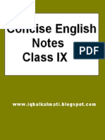 Concise English Notes for Class IX
