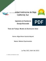 Modelo de Radiación Solar Global