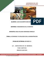 UNIDAD 1.- La Economia y Su Relacion Con La Administracion