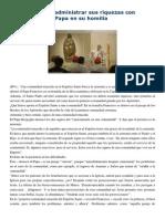 Francisco- Homilía 14-4-15 La Iglesia Debe Administrar Sus Riquezas Con Generosidad