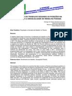 RENDIMENTO DO TRABALHO SEGUNDO AS POSIÇÕES NA OCUPAÇÃO E A DESIGUALDADE DE RENDA NO PARANÁ