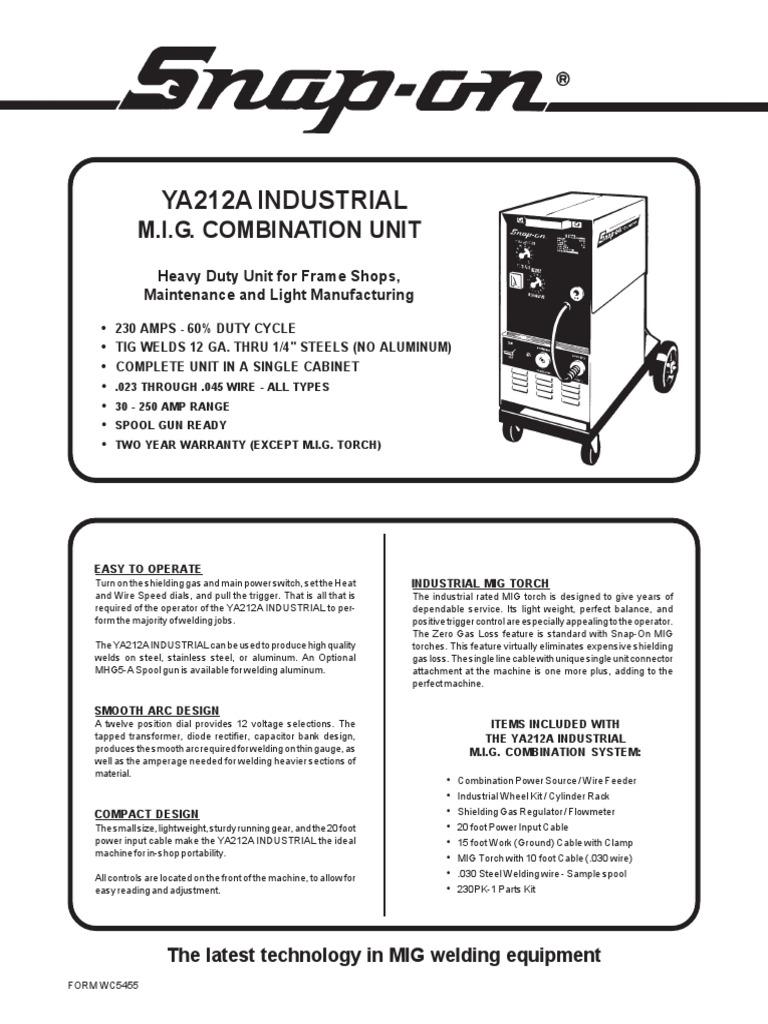 Snap-ON Ya212aind Spec Sheet | Welding | Mechanical Engineering