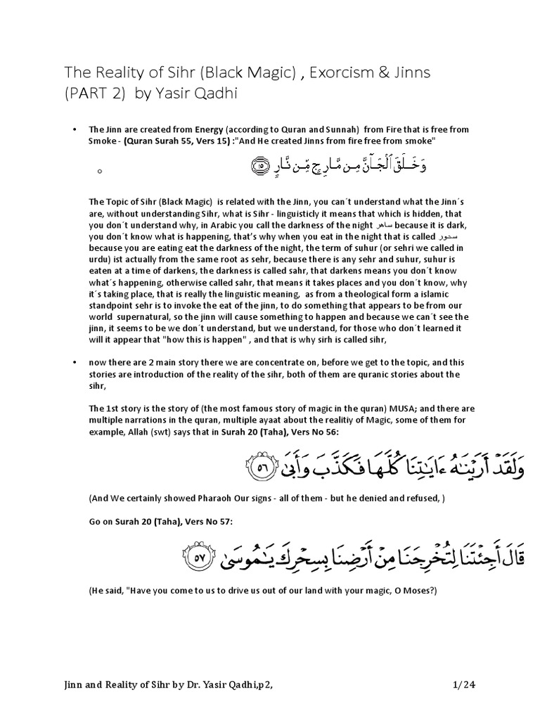 The Reality of Sihr _JInn p2 by Dr Yasir Qadhi | Kafir
