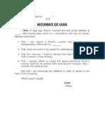 Affidavit of Loss_sample