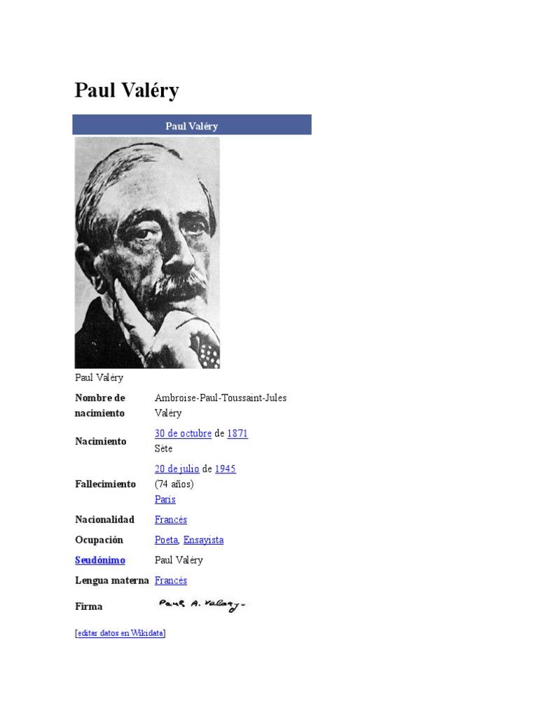 Biografia de Paul Valery