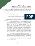 Rolul si Functiile Creditului in Economie