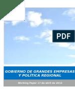 GOBIERNO DE GRANDES EMPRESAS Y POLITICA REGIONAL
