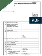 BNPM Recruitment 2015 19 Manager/Engg Post Application Form Format Online