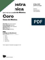 20150327 | Programa de Sala Orquestra Sinfónica do Porto Casa da Música | Coro Casa da Música | Missa Solene