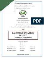 LA DESHYDRATATION DU GAZ