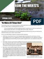 Wertz Spring 2015 Prayer Letter