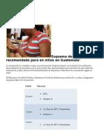 Esquema de Vacunación Recomendado Para en Niños en Guatemala1